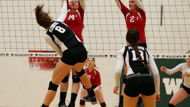 Canton's Annie McDougall (left), helped by Haley Diedrick, put an effective block up against Plymouths's Jordan Schamp (No. 8) and Jordyn Kuchka during Monday's district volleyball match.