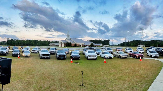 First Baptist Church of Springfield has been holding drive-in services because of COVID-19.