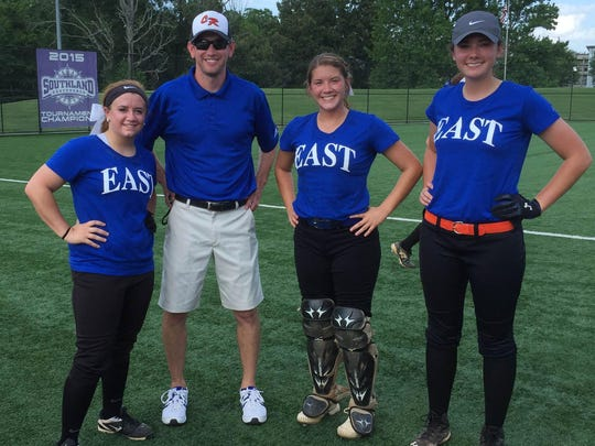 Two local softball players and one local coach participated in the Arkansas High School Coaches Association All-Star games last week at Conway. Shown are the four Class 1A representatives from the game: from left, Calico Rock's Jacie Woods, Calico Rock head coach Josh Wright, Nemo Vista's Chase Paladino and Viola's Destiny Crawford.