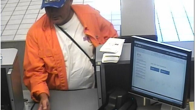Cape Coral police were searching for this man, a suspect in the Monday afternoon robbery of the 5/3 Bank on Del Prado Boulevard.