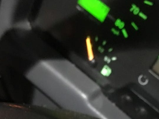 The gas gauge on the Parkway bus.
