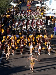 The Sun Devil marching band performs at the ASU Homecoming