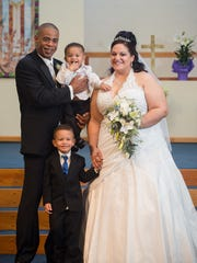 Eric and Sharlene Humphrey on their wedding day in 2013, with sons Jonathan, then 20 months,  and Jordan, then 4.Courtesy of  Amanda Stratford Photography