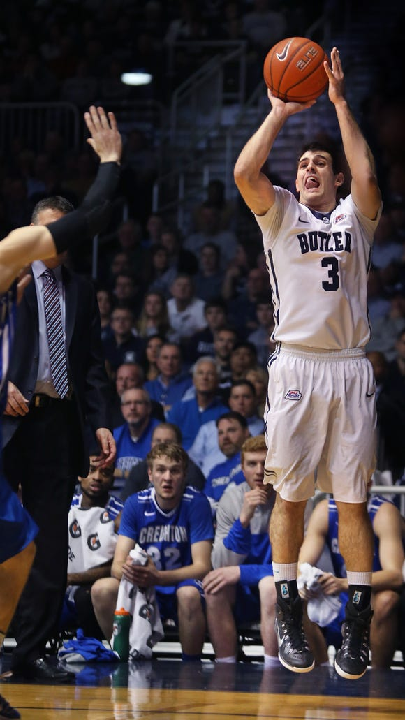 Butler's Alex Barlow puts up a shot from the corner