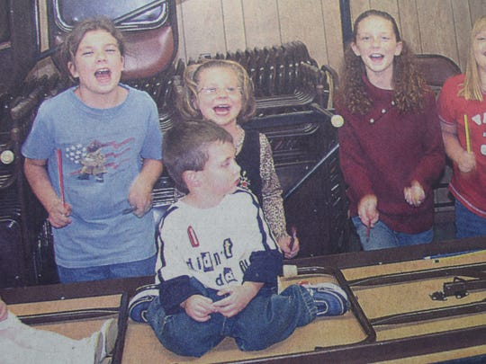 From the left are Emma Givens, Rebecca Toney, Mason Vaught, foreground, Kacy Givens, Johna Clevidence, Marissa Ferguson, and Madison Ferguson. All seven of these kids had a parent or relative seeking election in Uniontown in October of 2004.