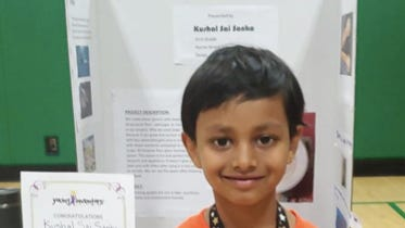 Kushal Sai Sanka, who recently completed first grade in Dover, placed first in his grade category for his Nourishing Spoon invention in the fifth annual Invention Convention U.S. Nationals, presented by Raytheon Technologies. Students submitted videos of themselves explaining their inventions for the virtual competition.
