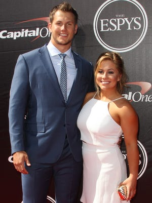 Former Olympic gymnast Shawn Johnson East and her husband Andrew East at the ESPYs in 2015. The couple shared their story of a miscarriage in a blog post on Saturday.