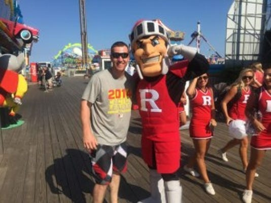 Todd Frazier of Rutgers and Toms River (left) poses with the Scarlet Knight mascot on the Seaside Heights boardwalk on Thursday.(Photo: Photo by Ryan Dunleavy)