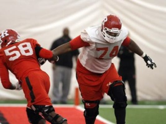Rutgers left tackle Keith Lumpkin (74) says the athletics department has done a good job educating players on being smart with the cost of attendance money.(Photo: Tanya Breen/Staff photographer)