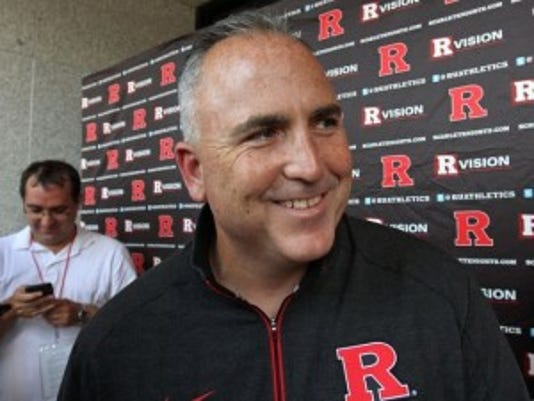 Rutgers football coach Kyle Flood likes the intensity he has seen at practice.(Photo: Kathy Johnson/Staff Photographer)