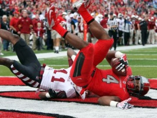 Leonte Carroo has 19 receiving touchdowns in his Rutgers career, one shy of the program record.(Photo: MARK R. SULLIVAN/STAFF PHOTOGRAPHER)