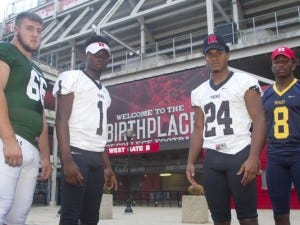 Rutgers recruits (left to right) Nick Krimin of St. Joseph, Mo Jabbie of South Brunswick, Phil Campbell of South Brunswick and Solomon Manning of Colonia.(Photo: Jason Towlen/Staff Photographer)
