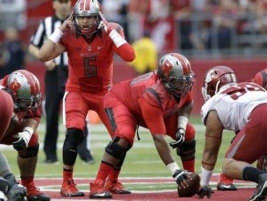 Rutgers quarterback Chris Laviano (5) calls signals during his first career start last week.(Photo: AP)