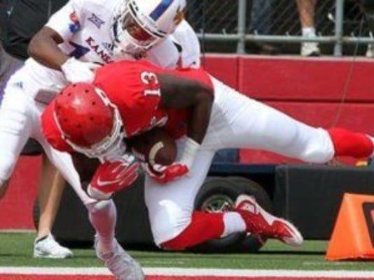 Carlton Agudosi scored the first touchdown of his Rutgers football career Saturday against Kansas. (Mark Sullivan/Staff photographer)