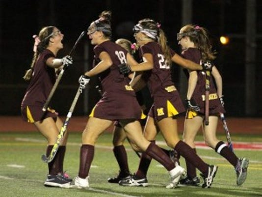 Madison celebrates after scoring a goal in the Morris County Tournament final. Photo by Karen Fucito/Correspondent