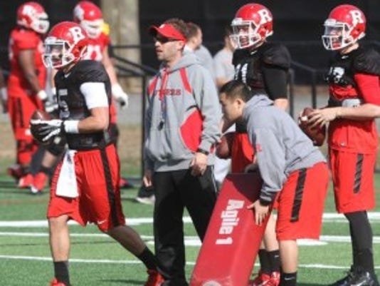 Ben McDaniels (center) is one of seven Rutgers football assistant coaches who will not be retained by Chris Ash. McDaniels was offensive coordinator under Kyle Flood.(Photo: Jason Towlen/Staff Photographer)