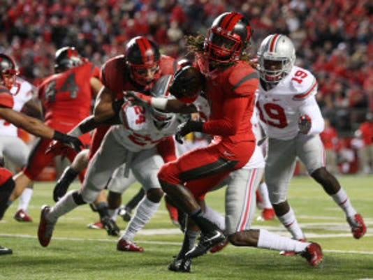 Jason Towlen/Staff Photographer Rutgers wide receiver Janarion Grant spins during a kickoff return against Ohio State last month. Rutgers wide receiver Janarion Grant spins during a second quarter kick-off return against Ohio State, Saturday, October 24, 2015, in Piscataway.