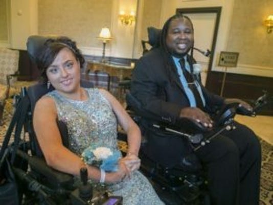 Former Rutgers football star Eric LeGrand and Gianna Brunini went to the Hanover Park High School prom together.(Photo: Karen Mancinelli/Correspondent)