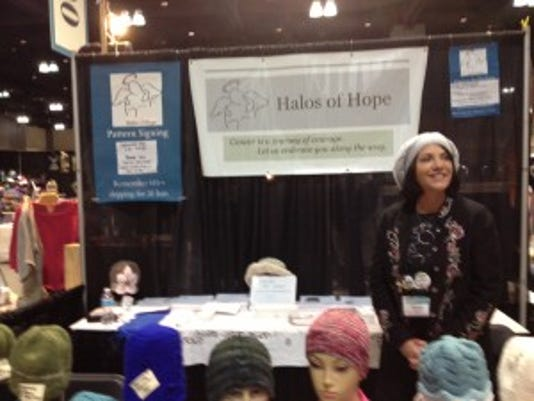 Pam Haschke at the Halos of Hope booth.