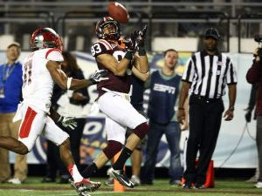 Virginia Tech wide receiver Corey Fuller (83) makes a touchdown reception to tie the game against Rutgers in the 2012 Russell Athletic Bowl. (USA Today Sports)