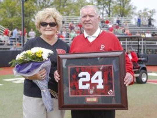 Former Rutgers baseball coach Fred Hill and his wife Evelyn at the ceremony for his number retiring in May.(Photo: Jim O'Connor/NJ Sport Pics)
