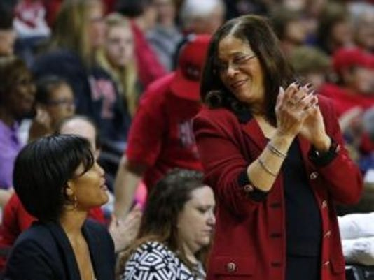 C. Vivian Stringer, clapping her hands while talking to assistant coach Chelsea Newton, is likely to be coaching Rutgers in the NCAA Tournament again after a two-year absence. (Photo: AP)