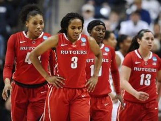 Betnijah Laney (44), Tyler Scaife (3), Shrita Parker (10), and Cynthia Hernandez (13) walk off the court during the first half of a women's college basketball game against Connecticut in the second round of the NCAA tournament.(Photo: AP)
