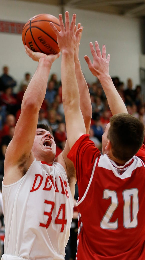 West Lafayette's George Karlaftis with shot over Blake