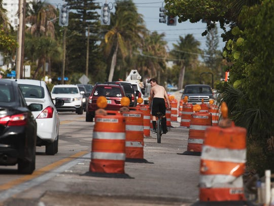 In this file photo from April 2017, traffic makes its way along Fort Myers Beach's Estero Boulevard, in the vicinity of the Red Coconut RV Resort.
