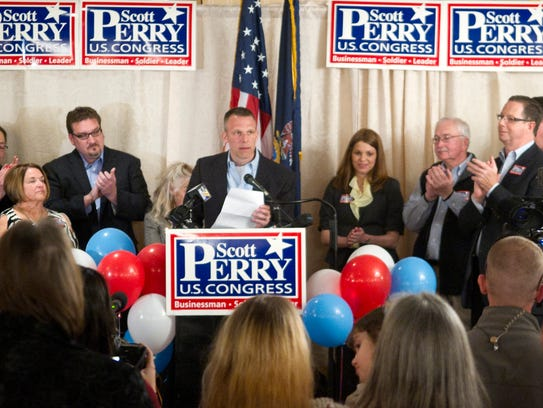 Scott Perry speaks to his supporters in 2012. Perry