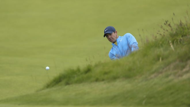 Rory McIlroy plays a shot on the 4th fairway during a practice round on Wednesday.