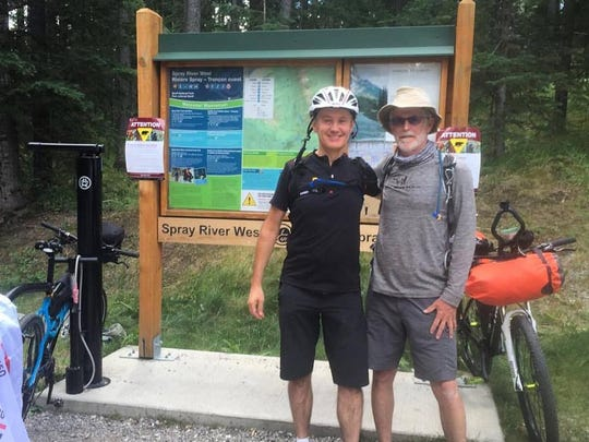 Marty Bannon and Benoit Lamouret at the start of the Great Divide Mountain Bike Route.