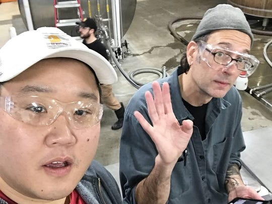 Richard Kim (left), managing partner of Playground Brewery of South Korea, and Ron Jeffries, brew master of Jolly Pumpkin Artisan Ales in Dexter, Mich., collaborated on a sour ale brewed in Michigan with Korean blackberries.