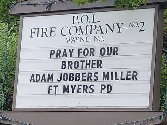 The sign outside of P.O.L. Fire Co. 2 in Wayne asks