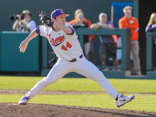 Clemson pitcher Ryley Gilliam (44) pitches in relief