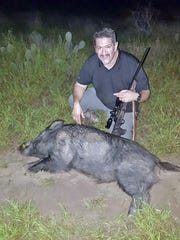 Jesse Peña Sr. shot this hog while hunting in Zapata County. He estimated the weight at 300 pounds.