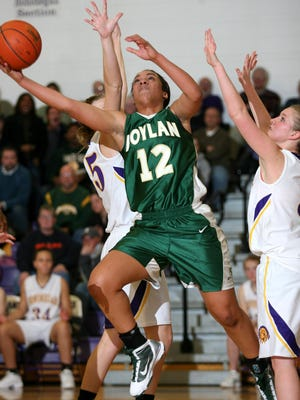 Brea Edwards, shown scoring for Boylan against Hononegah, played for both Boylan and Hononegah in high school and led the NIC-10 in scoring all three seasons.