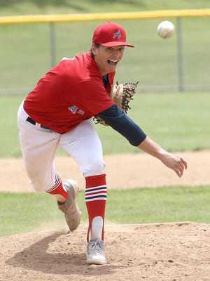 Alliance Elks pitcher Michael Whitaker, shown against the Randolph Vipers earlier this summer, pitched a one-hit shutout Sunday.