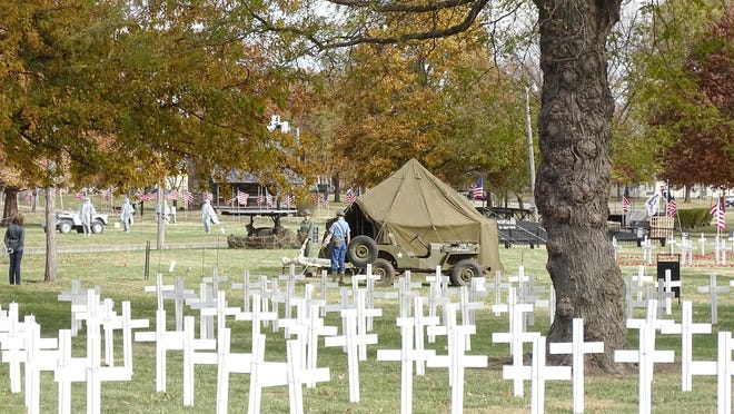 City Park turned into a memorial for veterans. Replicas of the Vietnam Veterans Memorial, World War I and World War II, alongside specialty displays such as Flanders Field's poppy field and crosses for each of the Franklin County men who lost their lives during wartime, are on display.