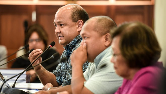 Guam Department of Education Superintendent Jon Fernandez answers a question posed by Sen. Michael San Nicolas during a budget hearing at the Guam Congress Building in Hagåtña on Wednesday, June 13, 2018.