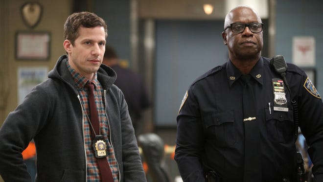 "Andy Samberg, left, as Jake Peralta, and Andre Braugher as Ray Holt in ""Brooklyn Nine-Nine."""