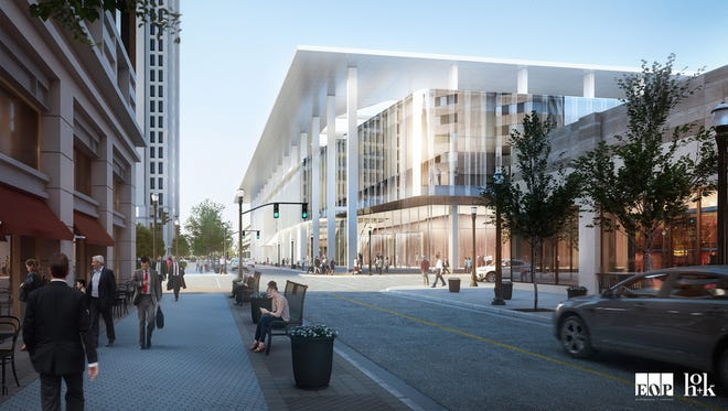 Exterior view of the planned revamp of the Kentucky International Convention Center.