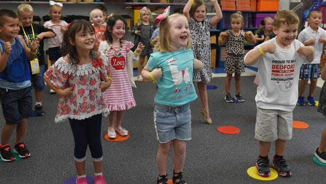Jackman Road Elementary School kindergartners performed the chicken dance during music class on the first day of the 2019-20 school year. For the 2020-21 year, Bedford Public Schools is offering both modified in-person and virtual learning options in light of the coronavirus pandemic.