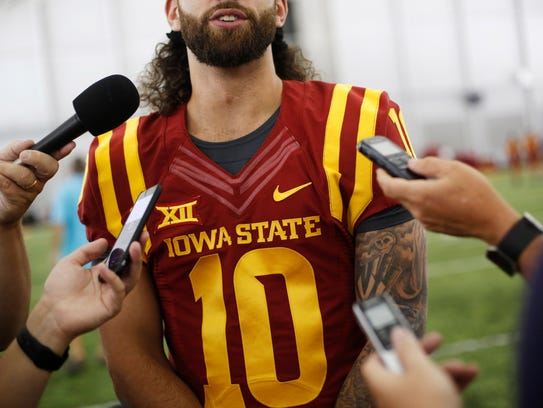 Iowa State quarterback Jacob Park answers questions from reporters Aug. 3, 2017, during Iowa State Football media day in Ames, Iowa. Park took a leave from the team midseason before asking to be released from the Cyclones program at the end of the year.
