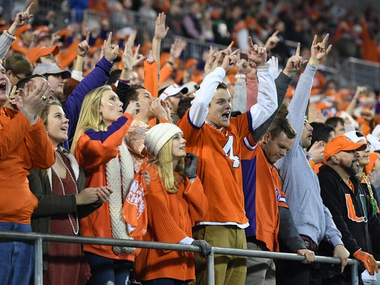 Clemson fans during the 1st quarter of the ACC championship