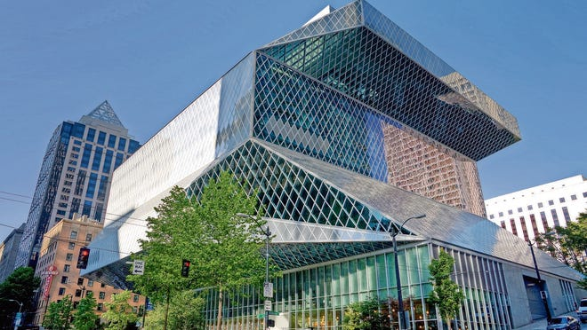 The glass facade of the Seattle Public Library.