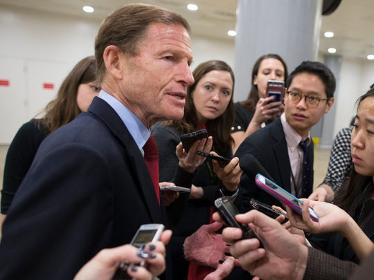 Sen. Richard Blumenthal, D-Conn., speaks with reporters