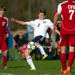 Essex's Aidan Whitney (2) scored in the 2-0 win over Rutland on Thursday in the Jay Brady Kickoff Classic.