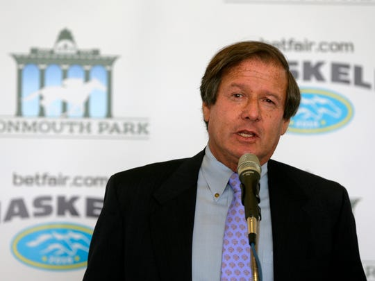 Dennis Drazin, advisor to Darby Development, LLC, speaks during the Monmouth Park season-opening press conference at Monmouth Park in Oceanport, NJ Tuesday May 10, 2016.