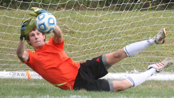 Suffern goalie Matt Ryan makes a save during a game at with Clarkstown South at Suffern Sept. 16, 2014. Suffern won 1-0.